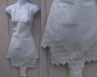 Vintage 1920s Antique Drawn Lace LINEN Pinafore Apron / handmade and hand stitched lace