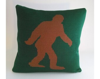 Bigfoot Sasquatch Pillow - Loom Knit Cotton/Linen - Forest Green & Cocoa Brown