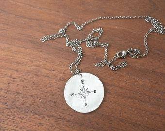 large compass necklace - long necklace - bohemian pendant - directional necklace - compass necklace - arrow necklace - silver