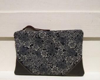 Floral Wedding Clutch, bridesmaid clutch,medium, pocket, navy blue, grey, favours, navy blue clutch