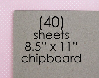 Chipboard Sheets | 40 Sheets of 8.5 x 11 Inch Kraft Chipboard Paperboard Greyboard Sheets
