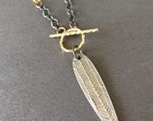 Spike, Fine Silver, 14k Gold Fill, Oxidized Sterling Silver Mixed Metals Charm Necklace, erinelizabeth
