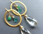 SALE Summer Breeze, Chrysoprase, Apatite, Quartz, 24k Vermeil, 14k Gold Fill Gemstone Hoop Earrings, erinelizabeth