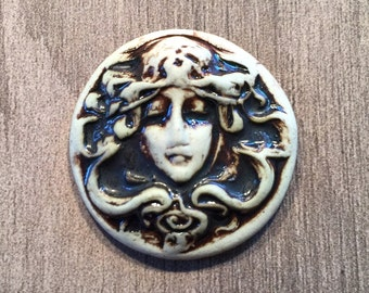 Nouveau Lady Face Ceramic Cabochon Stone in Oxidation
