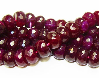 Burgundy Rondelle Faceted Agate Gemstone Beads