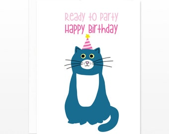 Funny Cat Birthday Card - Ready to Party Cat Kitten Card - card for her, card for coworkers, card for cat lovers, card for friends