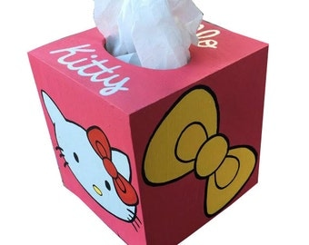 Hello Kitty Tissue Box Holder Hand Painted Matches Toilet Seat in my Shop