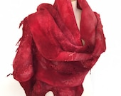 Nuno Felt Merino, Red, berry, maroon, scarf, red shawl, wearable art shawl, wool shawl, Iona Loyola, silky shawl