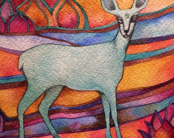 Little Blue Deer  Giclee print by Megan Noel