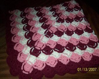 Cathrine's Wheel Baby Blanket 46 Wine, Rose, Off White