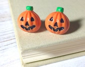 Pumpkin Stud Earrings, Halloween Earrings, Smiling Jack-o-Lantern Studs, Halloween Pumpkin Stud, Orange Pumpkin Studs, Surgical Steel