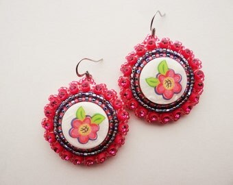 Beaded Pink Flower Earrings