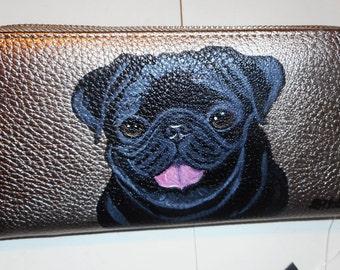 Black Pug Dog Custom Hand Painted Leather Women's  Wallet vegan