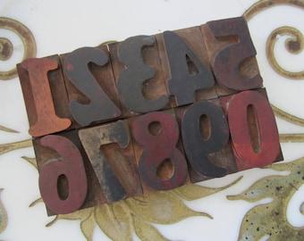 Number Set Vintage Letterpress Wood Type Printing Blocks