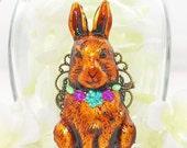 Brown Rabbit Brooch Daisy - Rabbit Jewelry - Bunny Rabbit Pin - Bunny Brooch - Animal Brooch