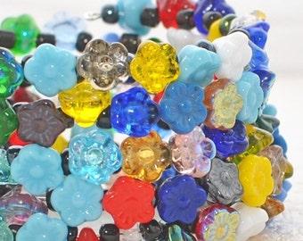 Flower Bracelet Memory Wire Wraparound Cuff Multicolor Garden - Flower Bracelet - Flower Jewelry - Gift for Wife
