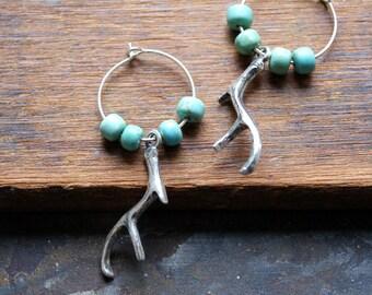 Antler Earrings - Silver Antler Earrings - Deer Antler Earrings -Turquoise Earrings - Carico Lake Turquoise - December birthstone jewelry