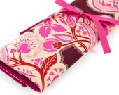 Knitting Needle Case   - Flourish Cherry - IN STOCK Large Organizer 30 pink pockets for all sizes or paint brushes