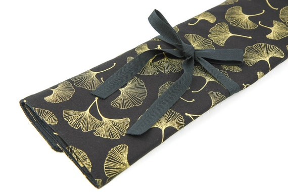 Large Knitting Needle Case Organizer - Ginkgo - 30 black pockets for straight, circular, double point needles or paint brushes