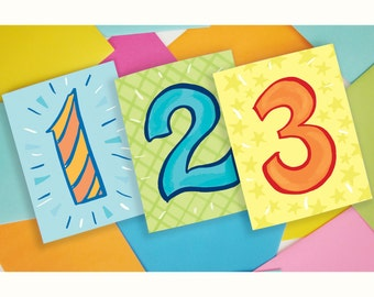 Happy Birthday kids children first birthday second third four five year old two year three year 1st 2nd 3rd 4th 5th happy fun retro