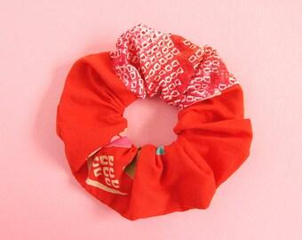 Japanese Kimono fabric Scrunchie - 2 different fabric shibori+yukata -C-