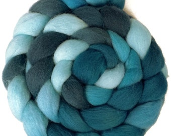 Handpainted Falkland Wool Roving - 4 oz. SHADES of TURQUOISE - Spinning Fiber