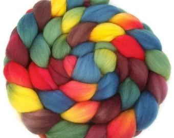 Handpainted Superfine Merino Wool Roving - 4 oz. ARCADE - Spinning Fiber