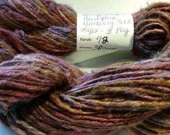 Crazy Handspun Art Yarn from handpainted mulberry silk laps 3 ply 72 yards
