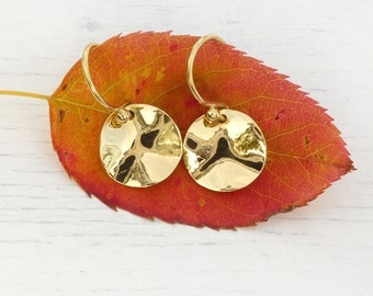 Hammered Disc Earrings in 18k Yellow Gold, Eco Friendly, Handmade in the UK