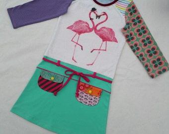 Size 10 upcycled girls flamingo dress, girls clothing, children's clothing, kids clothes, kidswear, girl, holiday, mint, pockets,upcycling