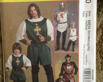 McCall's Costumes M5500-Knight and Samurai-Mens/Boys Instructions, Sizes S,M,L and XL-New, Uncut-Renaissance