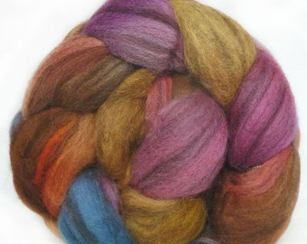 BFL handdyed wool roving top spinning or felting fiber 3.6 oz