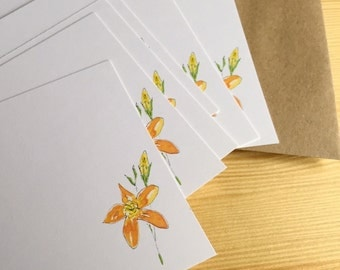 Floral Watercolor Flat Note Stationery Set - Personalized Wildflower Stationery - Orange Flower Note Cards - Botanical Note Cards - Set of 8