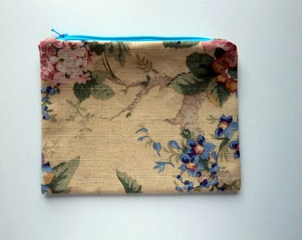 Romantic Floral Fabic Zipper Pouch, Fruit and Flower, purse organizer, clutch bag, travel accessory, cord cozy, fabric bag, linen blend