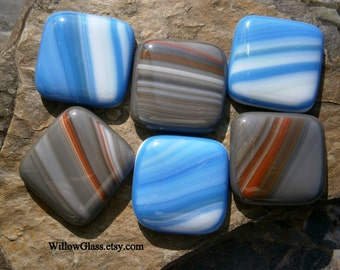 SALE Fused Glass Cabochons 6 in Blue Ocean Streaks and Gray Red, Willow Glass Cabochons, Glass Cabs