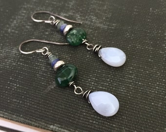 Blue and green stone. Blue Lace Agate, Green Aventurine, Iolite and Serpentine sterling silver earrings