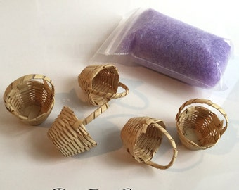 Easter Basket KIT with LAVENDER Grass - Super Fine for Miniature Easter Baskets - Dollhouse Supplies