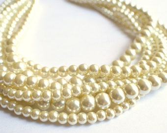 The Carlotta- Ivory Glass Pearl Statement Necklace