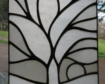 Tree of Life! Unique Beautiful White Stained Glass Decorative Panel - pewtermoonsilver