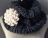 Steel Gray Tweedy Cowl Chunky Scarf Neck Warmer with Flower Statement Brooch and Felted Pin Back