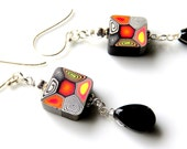 Square Polymer Clay Dangle Earrings - Abstract Black Earrings - Sterling Silver and Glass - Funky Earrings - Square Dangle Earrings