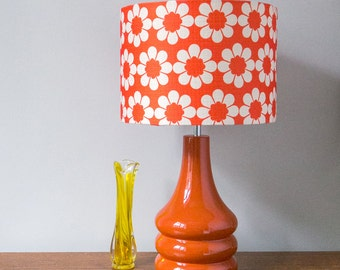 Vintage Flowers Burnt Orange Ceramic Table Lamp