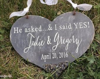 We're Engaged | Save the Date Sign | Engagement Sign | Personalized | He asked | I said Yes | Rustic Chalkboard | Photo Prop | Heart Sign