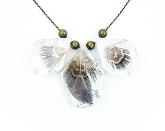 Feather and Silver Leaf Resin Statement Necklace • Specimen Necklace • Eco Resin Silver Leaf Feather Necklace • Science Necklace