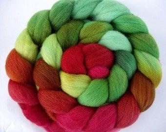 Hand painted merino wool roving, spinning fiber, felting wool, embellishing fiber, dolls hair, merino combed top, 100g/3.5oz