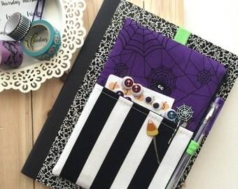 Spiderwebs Pocket Planner Pouch, Planner Band - Fits Kikki K A5, Filofax, Erin Condren Life Planner, Happy Planner