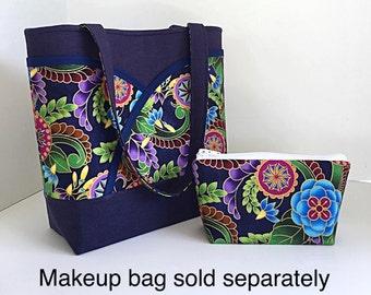 Navy blue handbag, tote bag, womens tote bag, handbag with pockets, handbags and purses, gift for her, fabric purse, Designer purse, Dee