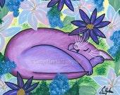 Cat Painting Purple Cat Art Dreaming Sleeping Cat Flowers Fantasy Cat Art Print 5x7 Cat Lovers Art
