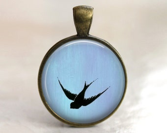 Bird Pendant - Taking Flight Pendant, Necklace or Key Chain