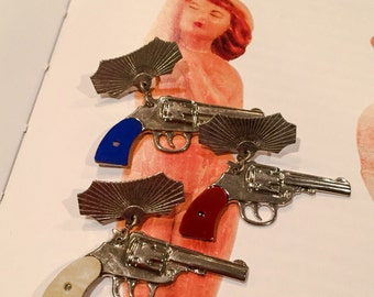 1pc VINTAGE PISTOL BROOCH Silver Choose Your Grip